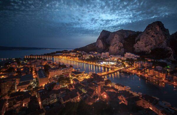 Omiš Town near split night