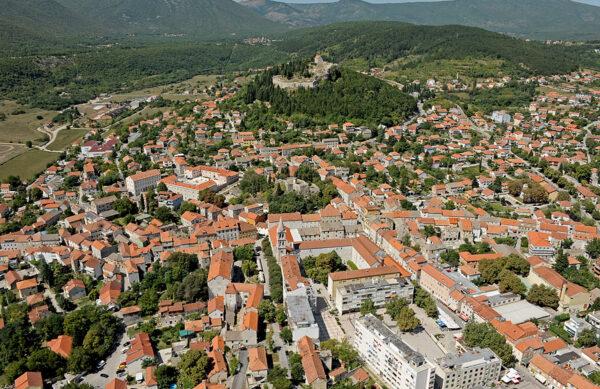 Sinj Town near Split from Above